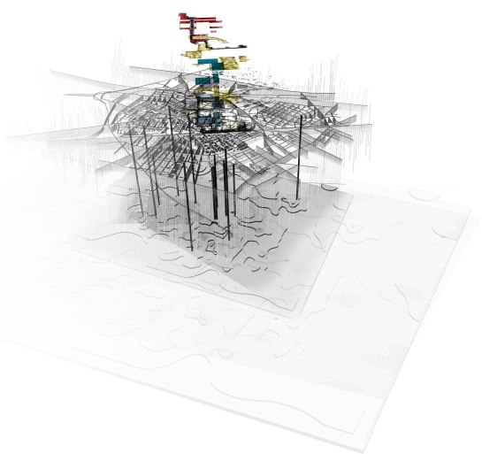 Multiplicity and Simultaneity _ this drawing brings together historic spatial morphologies, the physical geological and hydrological context and the proposed strategies from the initial Urban Strategy _ Ursus Urban Synthesis.
